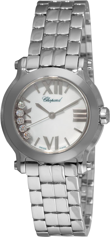 De la Mujer Feliz Deporte Diamante Blanco (0,15 CTW) esfera blanca acero inoxidable: Amazon.es: Relojes