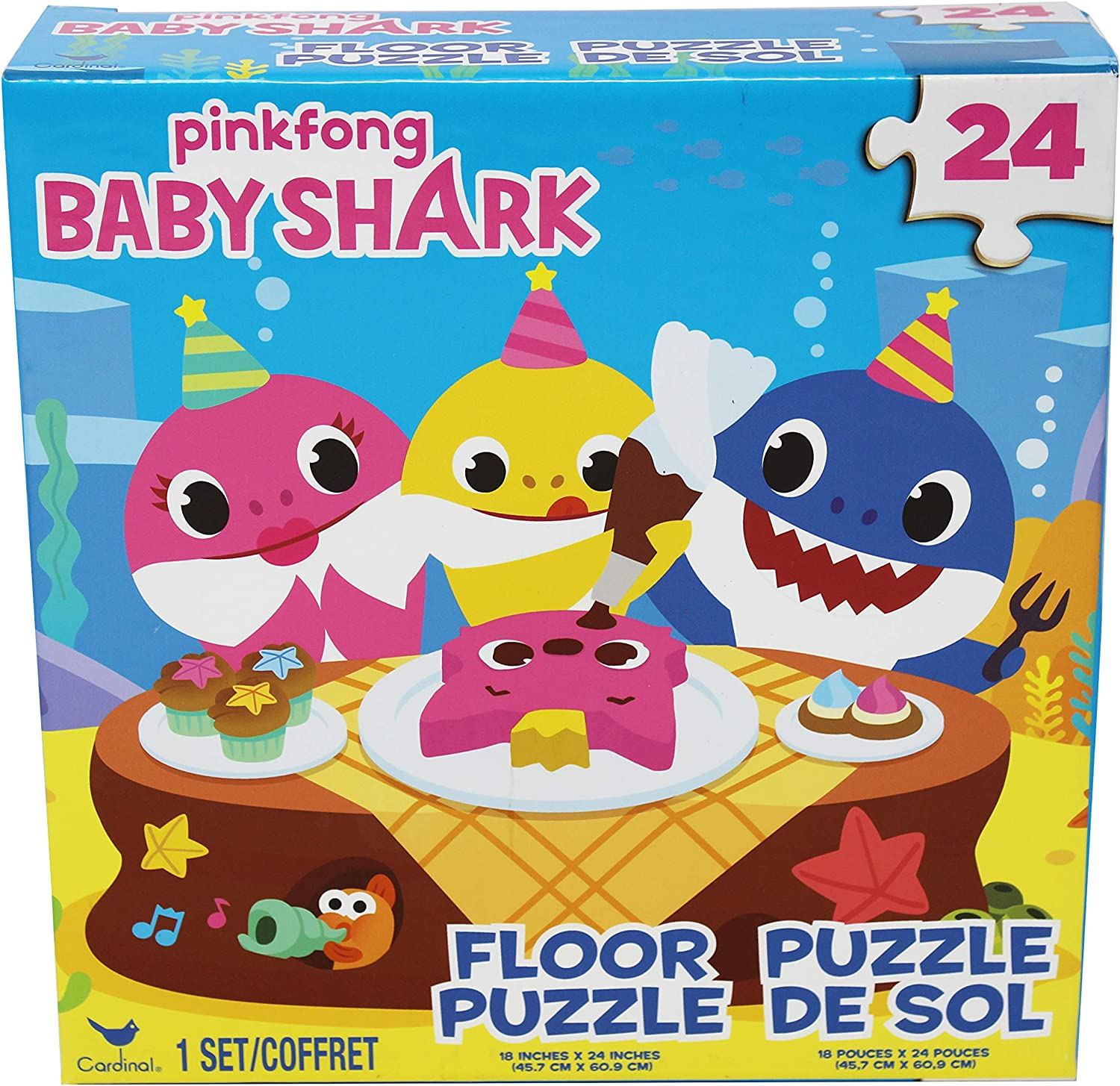 Cardinal Games 6054915 Baby Shark 24pc Floor Puzzle, Multi Colour