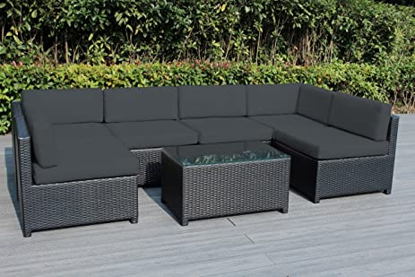 Ohana Mezzo 7 Piece Outdoor Wicker Patio Furniture Sectional Conversation  Set ( Gray )
