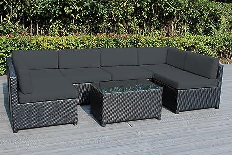 Amazon.com: Ohana - Muebles de mimbre para exteriores (7 ...