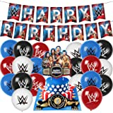 WWE party supplies birthday,wwe birthday party decorations Set includes wwe birthday banner ,cake topper,balloons, wrestling