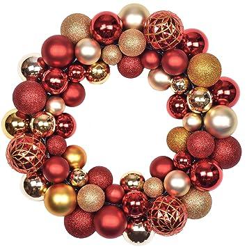Kranz Aus Weihnachtskugeln.Valery Madelyn 35cm Druchmesser Weihnachtskranz Kunststoff Aus 50 Weihnachtskugeln Kranz Luxus Rot Und Gold Christbaumkugeln Weihnachtsdeko Turkranz