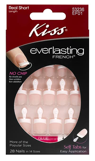 Kiss Everlasting French Real Short Length Nail Kit ,Endless 24 Pieces