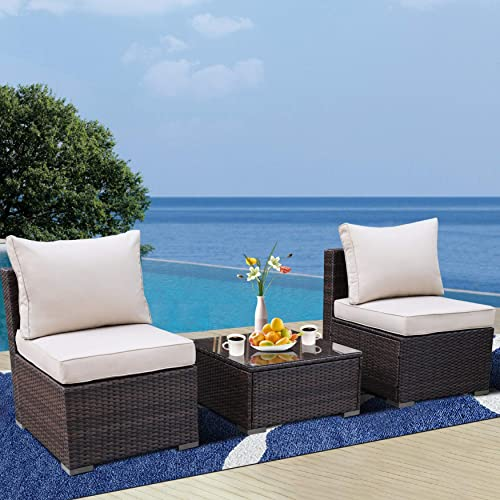 Outdoor Furniture 3-Piece PE Rattan Sofa Conversation Seat Loveseats Patio Couch Brown Wicker Khaki Cushion