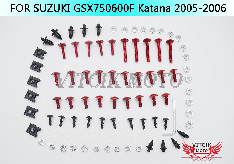 VITCIK Full Fairings Bolt Screw Kits for Suzuki GSX 600 750 F Katana 2005 2006 GSX600 750 F Katana 05 06 Motorcycle Fastener CNC Aluminium Clips Black /& Silver