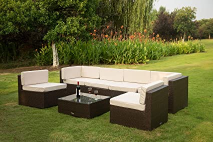 VANERUM 7 Piece Outdoor Patio PE Rattan Wicker Conversation Sofa Sectional  Furniture Set | Use for Patio,Backyard,Deck,Pool | Incl.Tan Cushions & ...