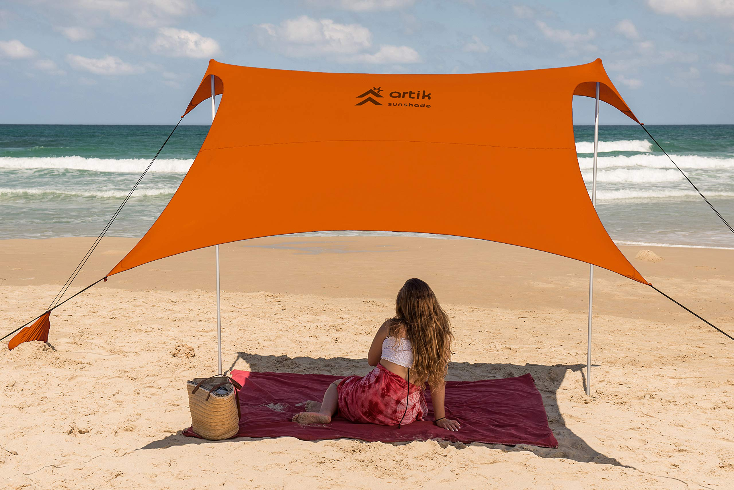 Family Beach Sunshade, with Sandbag Anchors, Simple & Versatile. SPF50, Lycra SunShelter for The Beach,Camping and Outdoors. (Orange pop, Large) by ARTIK SUNSHADE