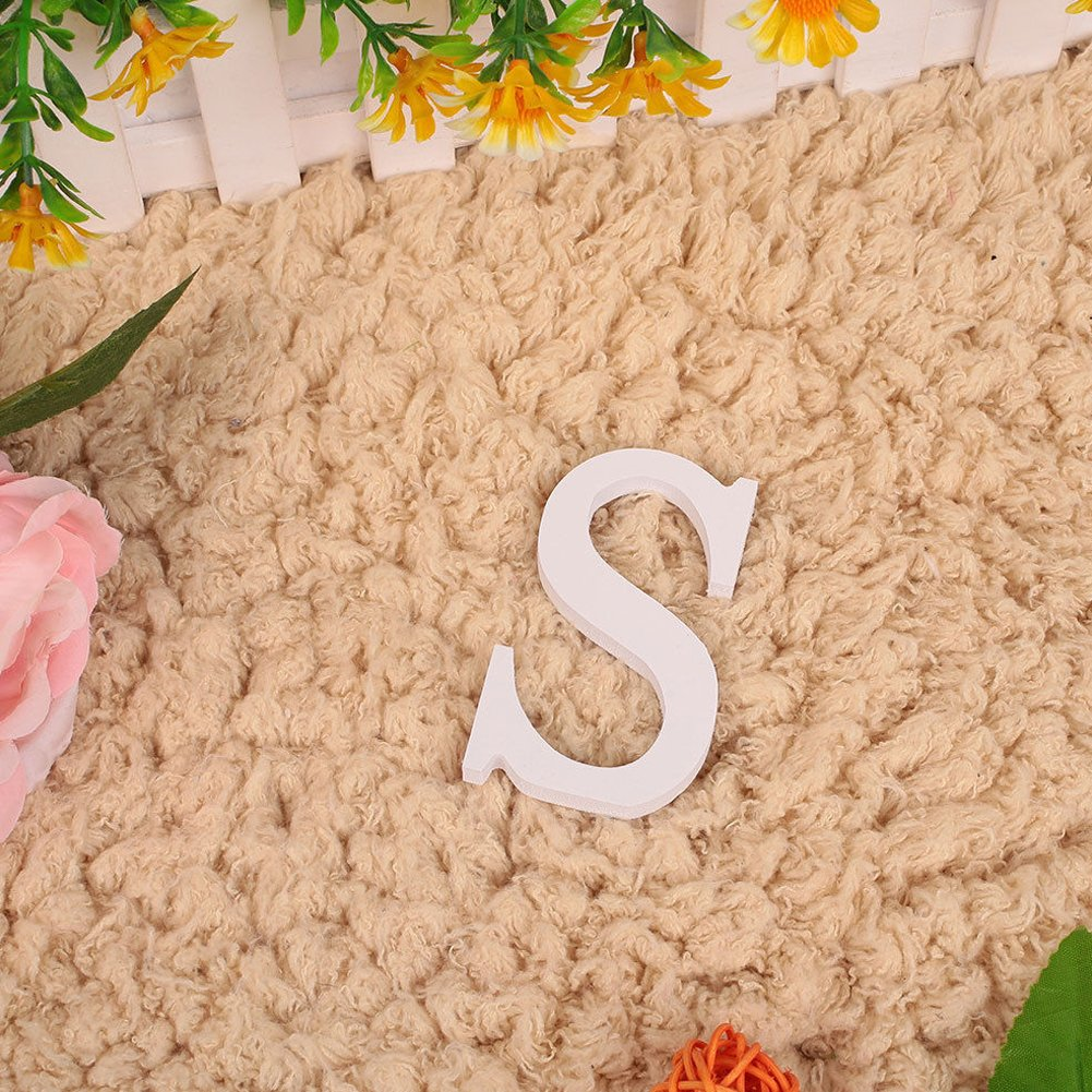 CHIC*MALL English Letter Ornaments Modern White Wood Home Wedding Decoration S