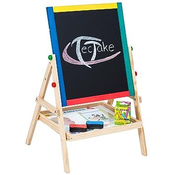 TecTake Pizarra infantil 2 en 1 pizarra para magnética de madera con accesorios