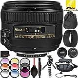 Nikon AF-S NIKKOR 50mm f/1.4G Lens - 8PC Accessory Bundle Includes 3PC Filter Kit (UV, CPL, FLD) + 4PC Macro Filter Set (+1, 2, 4, 10) + Variable Neutral Density Filter (ND2-ND400) + More