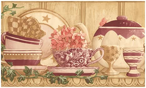 Retro Art Prepasted Wallpaper Border Vintage Kitchen Shelf Cups