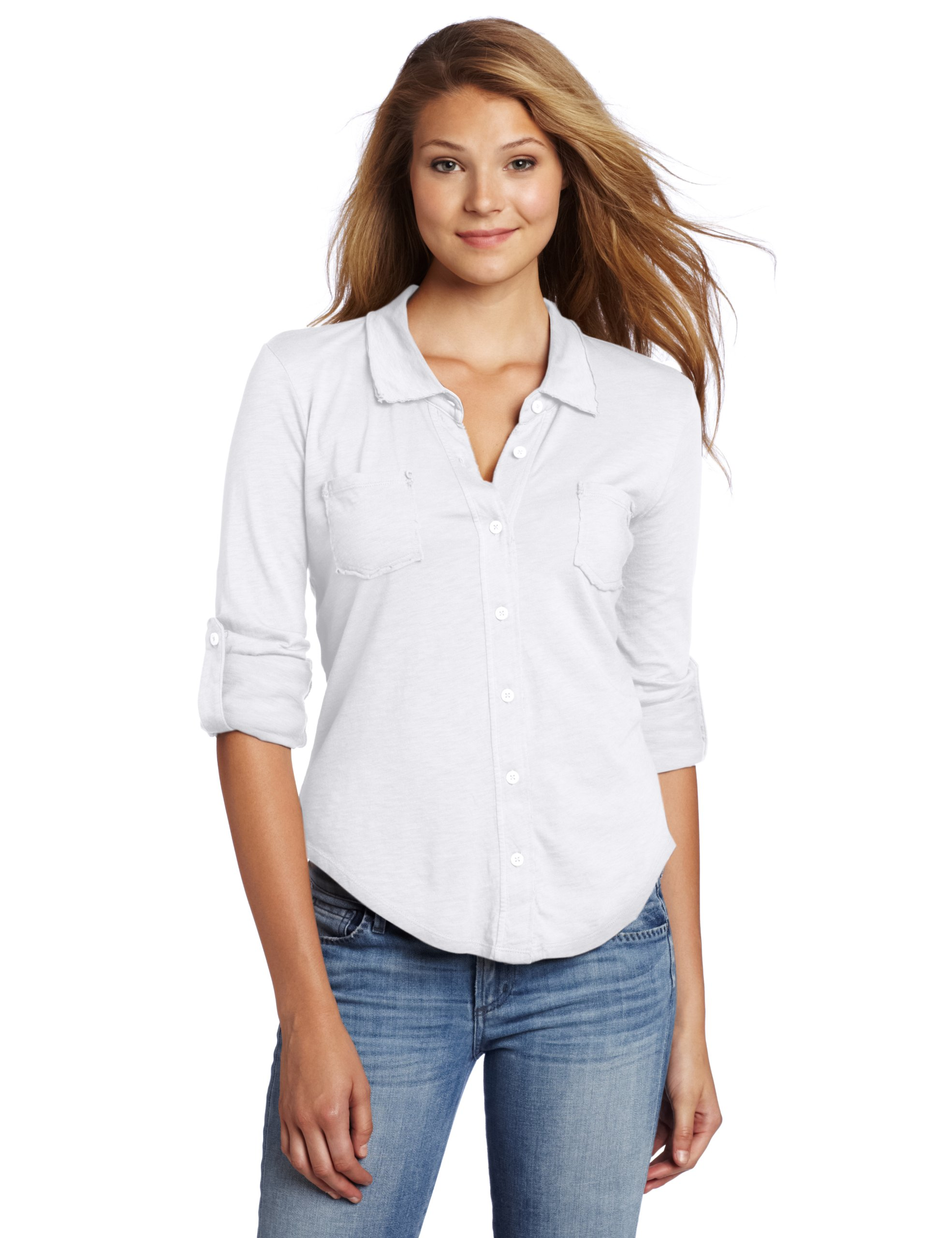 Michael Stars Women's Luxe Slub Raw Edge Fitted Button Down Shirt, White, One Size