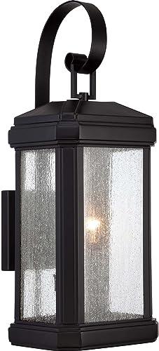 Quoizel TML8408K Trumbull Outdoor Wall Lantern Wall Mount Lighting, 2-Light, 120 Watts, Mystic Black 23 H x 9 W
