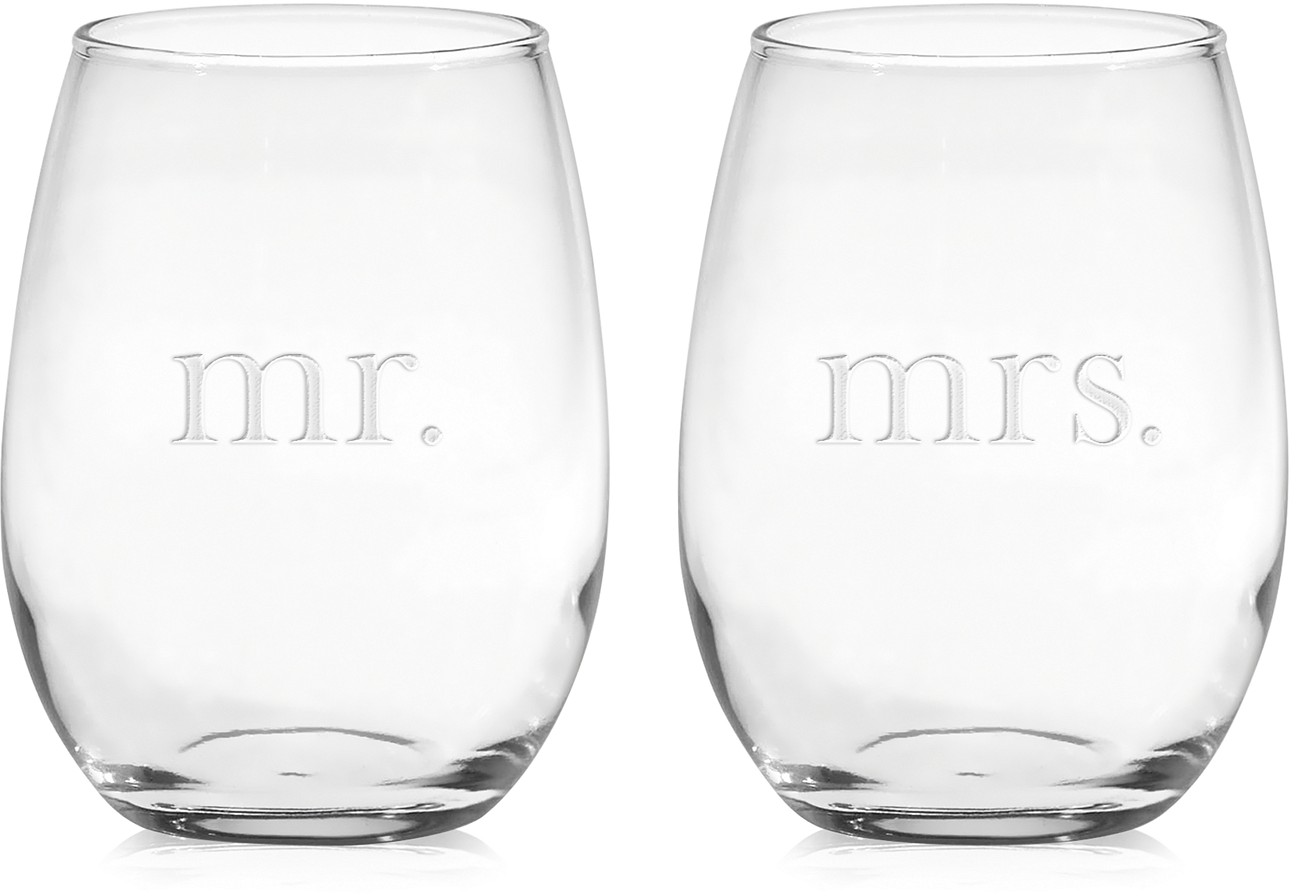 Mr. & Mrs. Stemless Wine Glasses, Set of 2 - Shop All Glassware & Stemware - Dining & Entertaining - Macy's Bridal and Wedding Registry