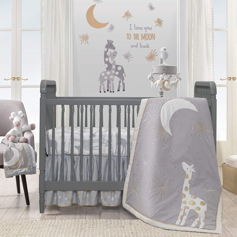 Gold White Gray Lambs /& Ivy Goodnight Giraffe 4-Piece Crib Bedding Set