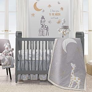 Lambs & Ivy Goodnight Giraffe 4-Piece Crib Bedding Set - Gray, Gold, White