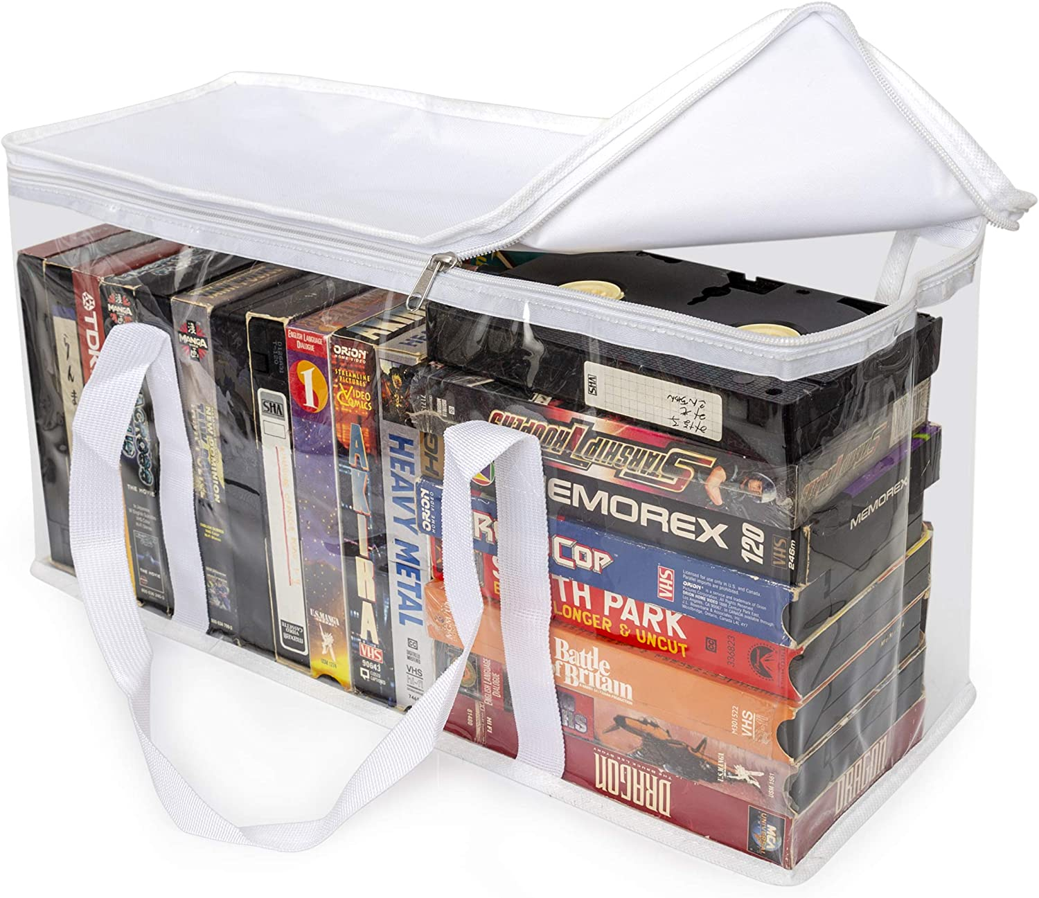 Home Portable Movie Tape Case with Strong Carrying Handle and Zipper White Office Stackable with Dividers Besti VHS Storage Bags Protective Video Cassette Organizer for Car Cabinet Shelf
