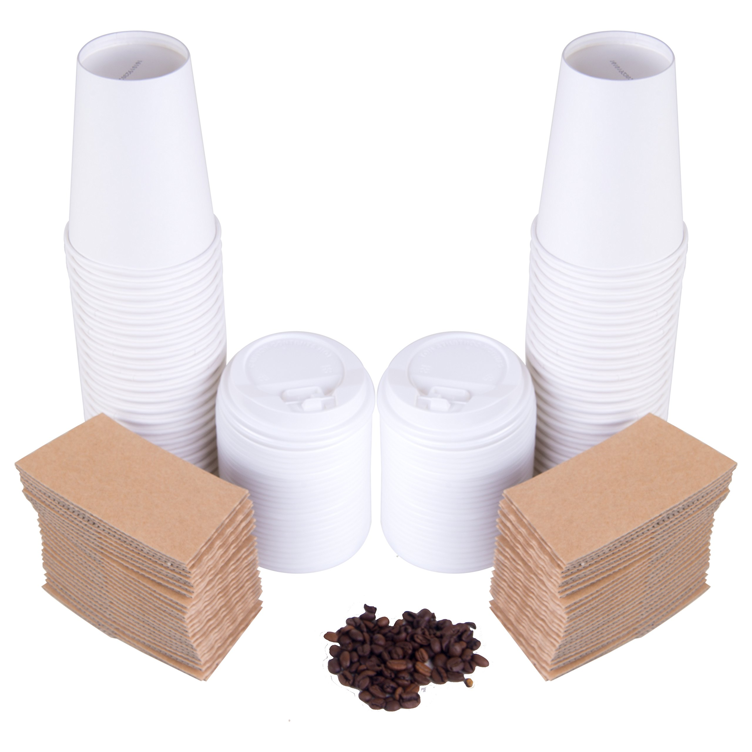 Disposable Coffee Cups Pack Of 50 Protective, Insulating Sleeves - Secure Cappuccino Lids - 12oz Capacity - For Travels, Parties & Bars.