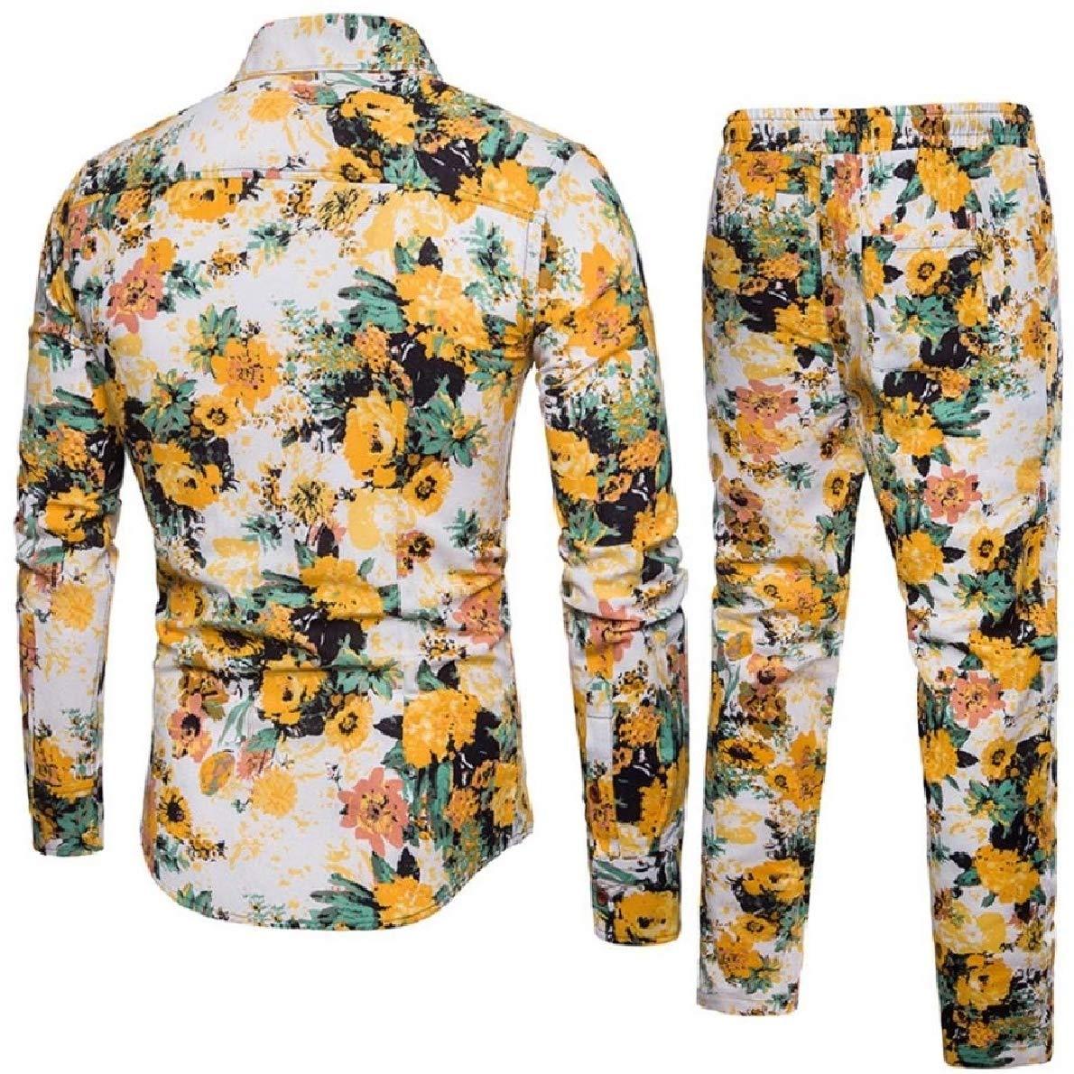 Zimaes-Men Linen Trousers Floral T-Shirts Long Sleeve Casual 2 Piece Set