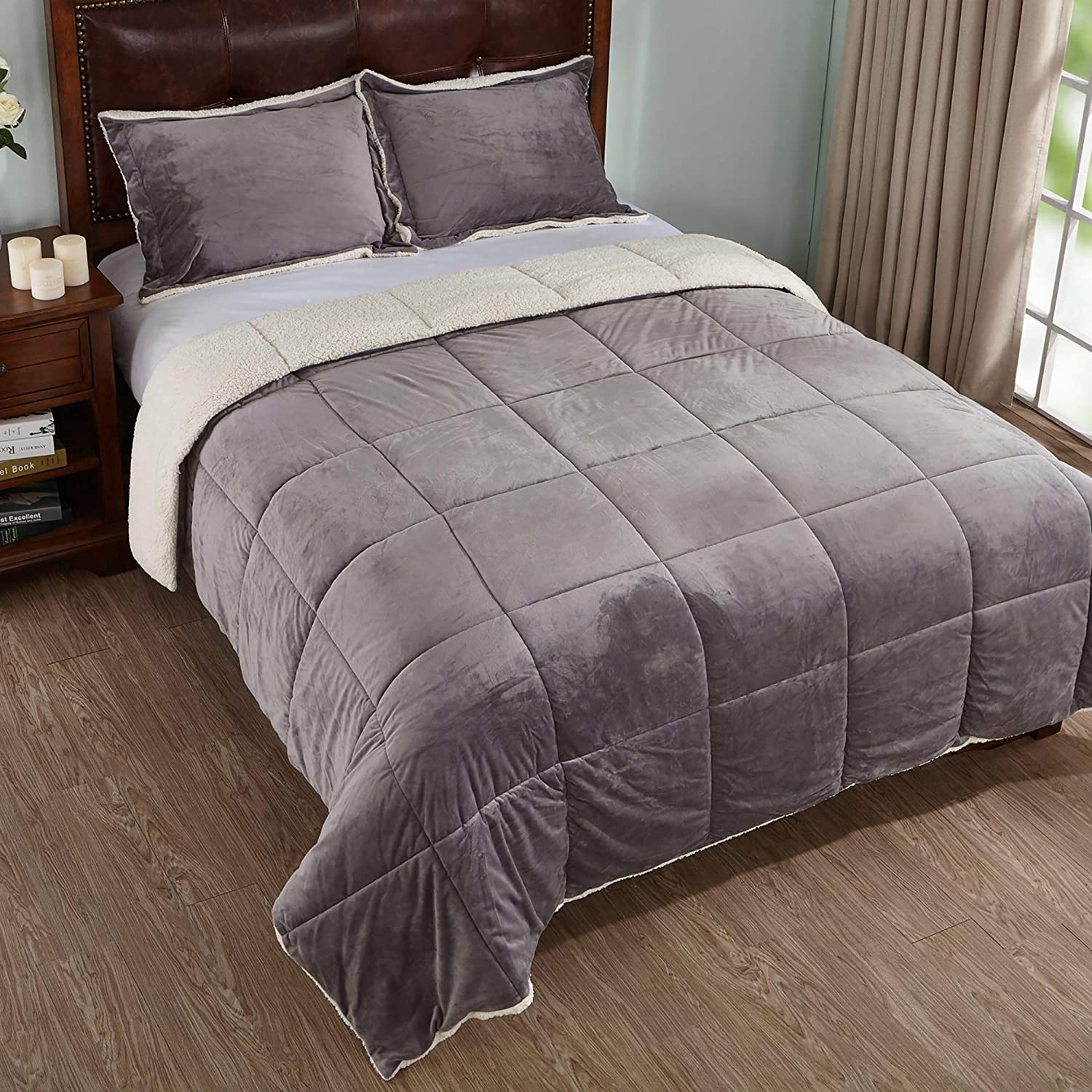 PEACE NEST 3-Piece Winter Sherpa Reversible Down Alternative Comforter Set with Pillow Shams, Queen Size, Grey