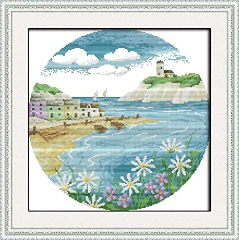 Full Range of Embroidery Starter Kits Stamped Cross Stitch Kits Beginners for DIY Embroidery with 40 Pattern Designs Island