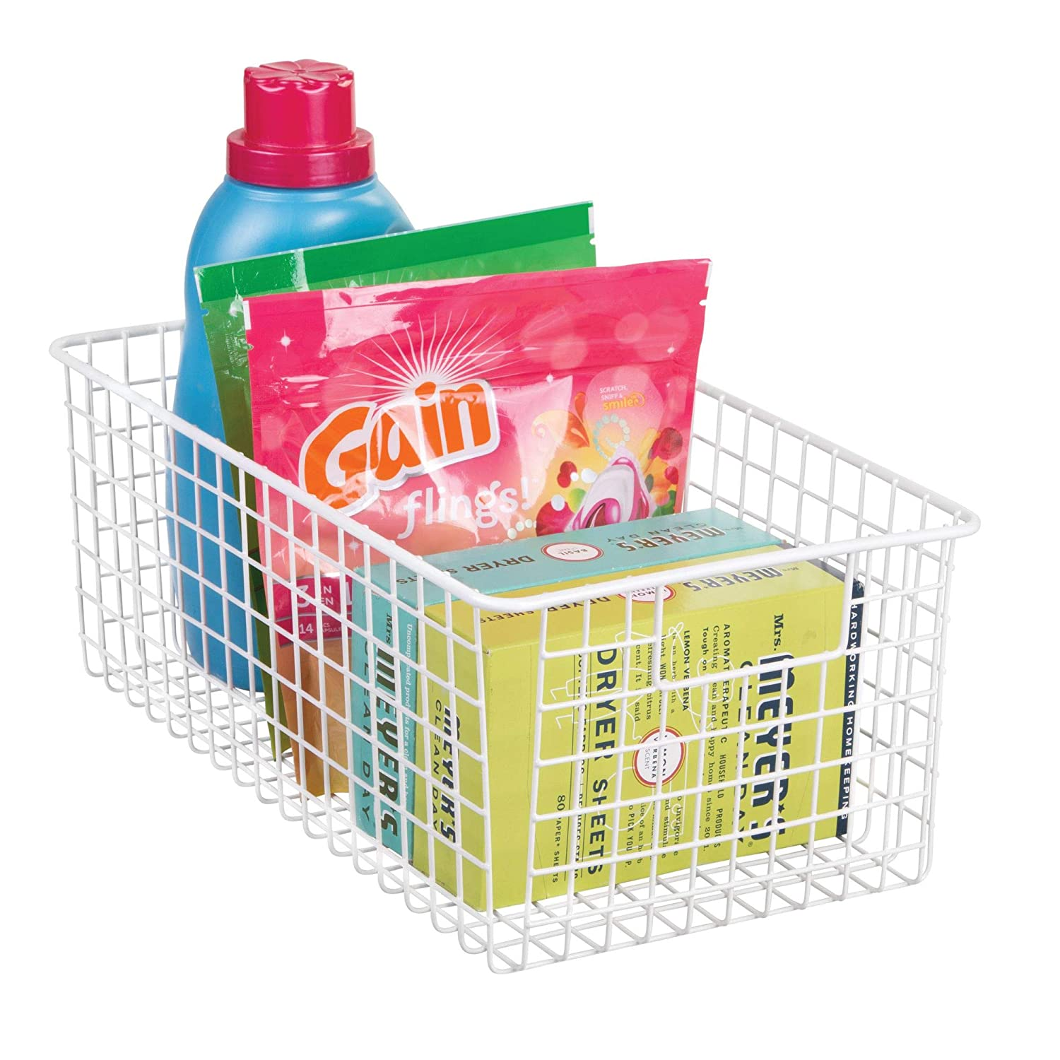 White 90242 Pantry InterDesign Classico Wire Storage Basket with Handles for Organizing Kitchen Cabinets