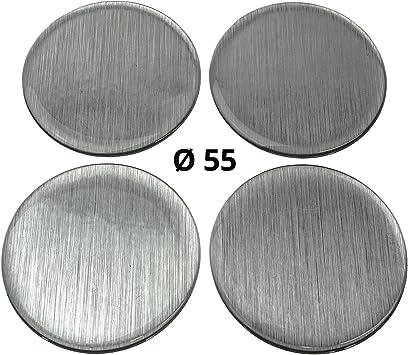 4x Silikon Aufkleber Embleme Für Nabenkappen Motiv Brushed Metal Gebürstetes Metall Durchmesser 55 Mm Auto