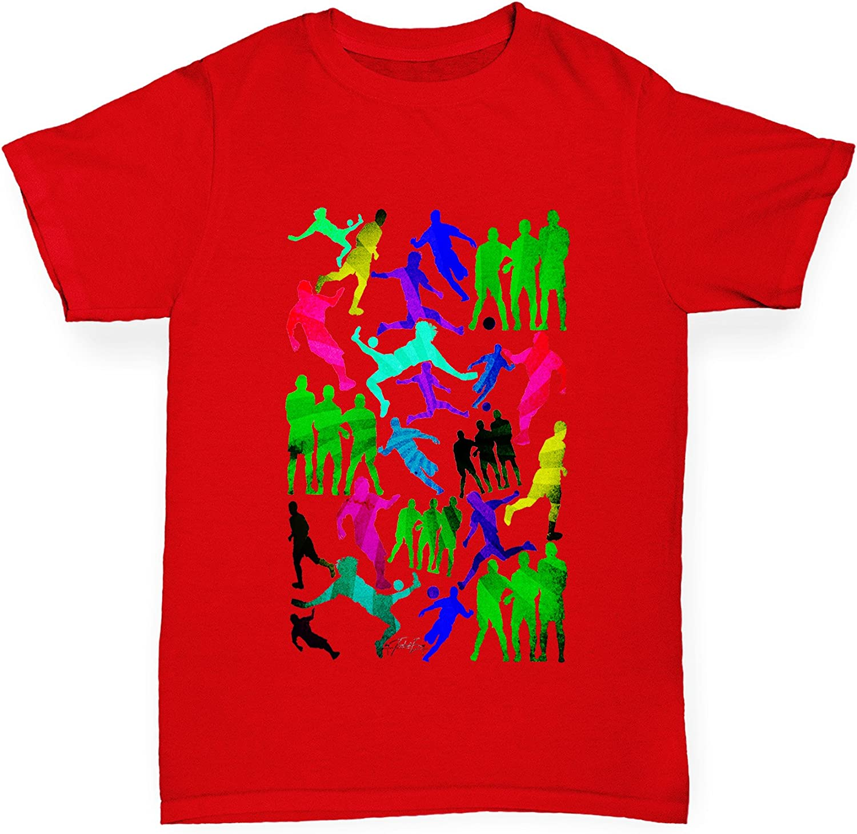 Twisted Envy Boy/'s Rainbow Soccer Football Silhouettes Premium Cotton T-Shirt
