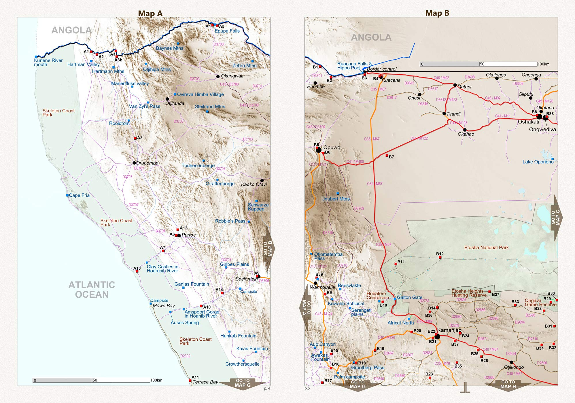 El set de mapas completo NAMIBIA: Mapa de carreteras NAMIBIA ROAD ...