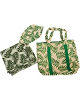 Womens/Ladies Leaf Print Beach Bag With Matching Hat & Sarong