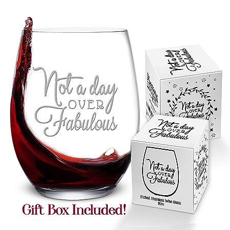 Copa de vino para regalo de cumpleaños para mujer, 16 onzas ...