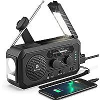$35 » 【2021 Newest】Emergency Radio, 5000mAh Hand Crank Solar Weather Radio, 5 Ways Powered…
