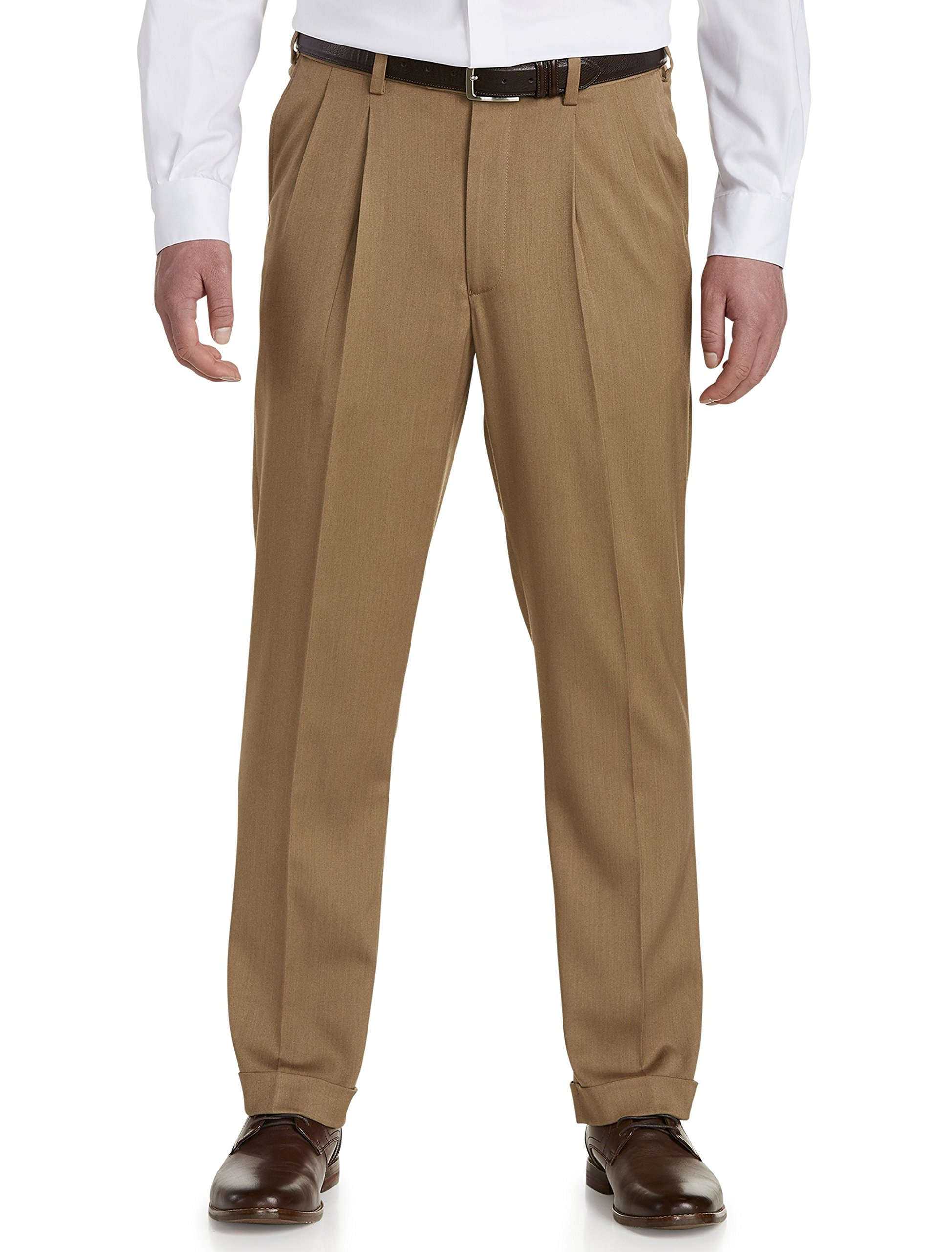 Gold Series by DXL Big and Tall Waist-Relaxer Luster Sateen Hemmed Pleated Suit Pants Khaki by Gold Series
