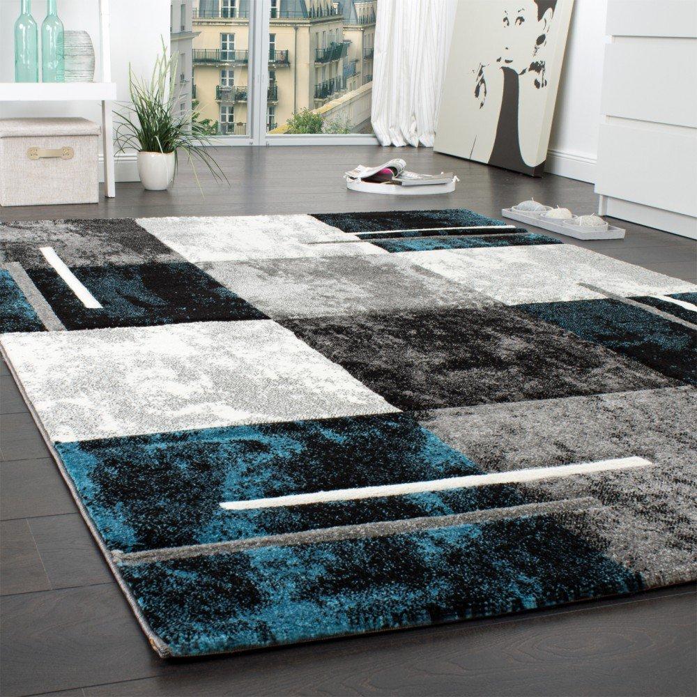 Paco Home Designer Teppich Modern mit Konturenschnitt Karo Muster ...