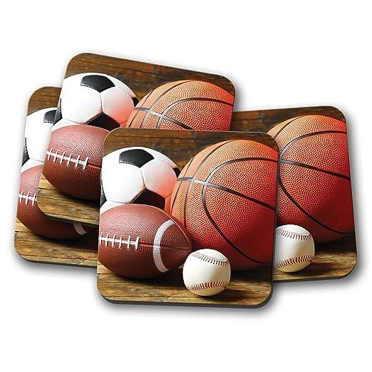 Juego de 4 posavasos para deportes de pelota, balón de fútbol ...