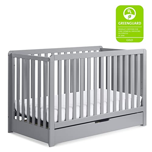Carter s by Davinci Colby 4-in-1 Convertible Crib with Trundle Drawer in Grey, Greenguard Gold Certified