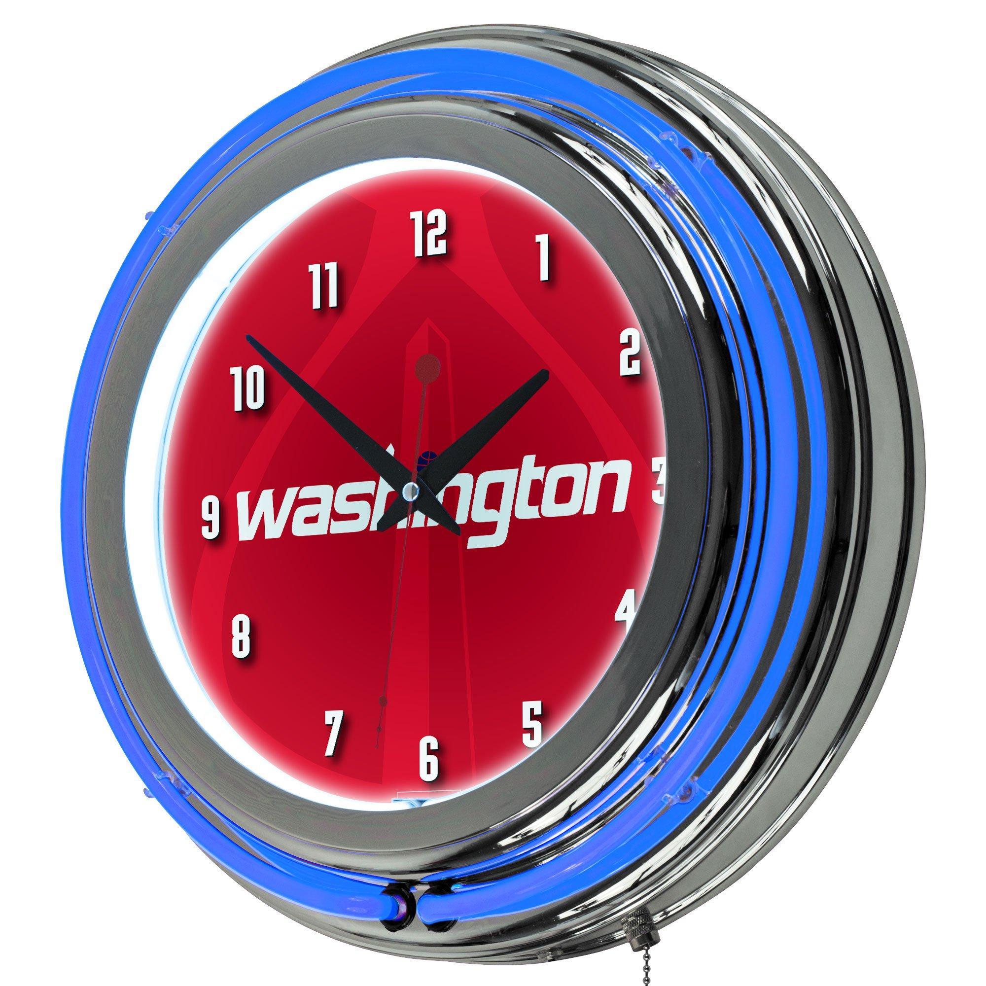 Trademark Gameroom NBA1400-WW2 NBA Chrome Double Rung Neon Clock - Fade - Washington Wizards