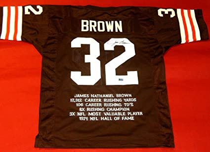25100f86ab9 JIM BROWN AUTOGRAPHED CLEVELAND BROWNS STAT JERSEY GRANDSTAND SPORTS ...