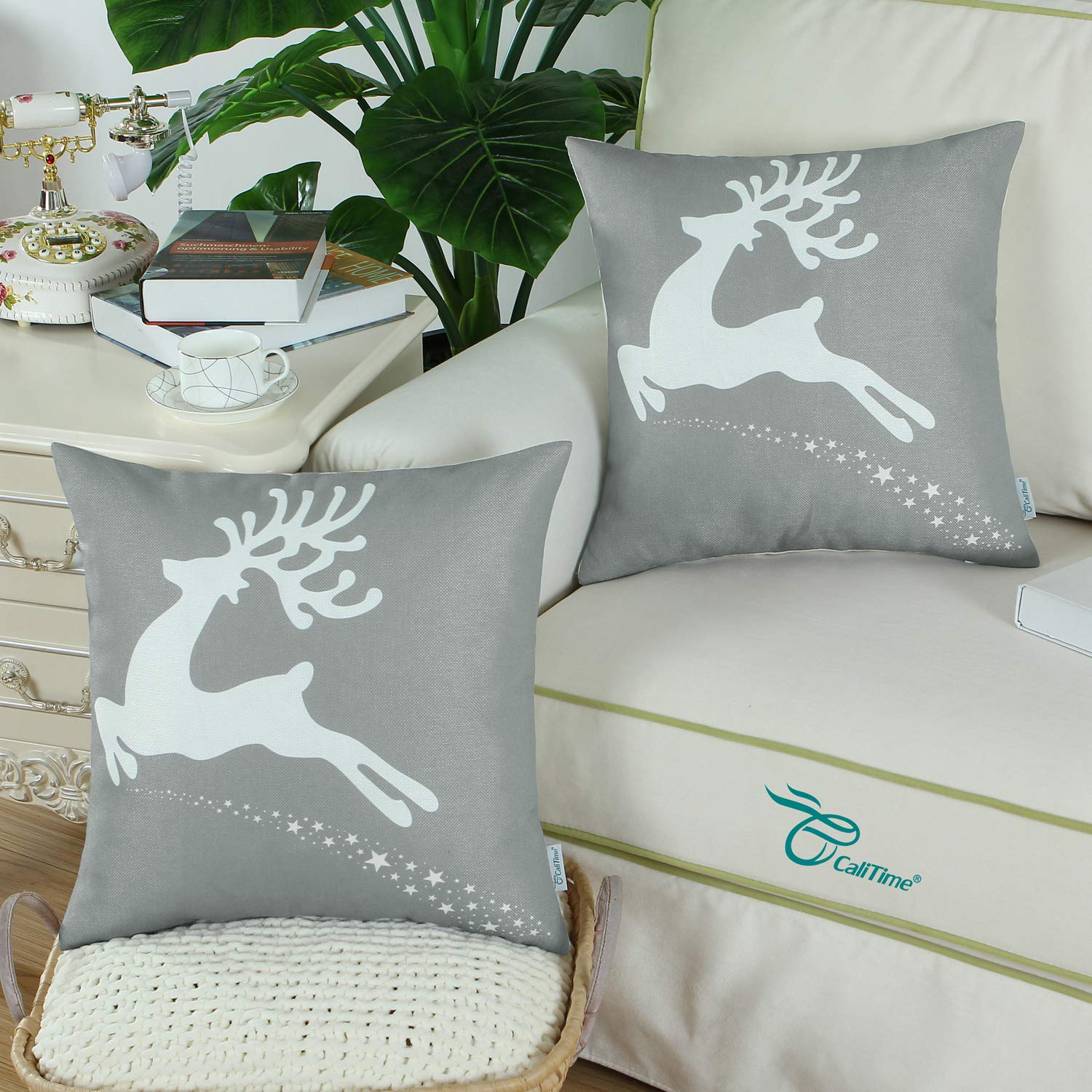 CaliTime Pack of 2 Soft Canvas Throw Pillow Covers Cases for Couch Sofa Home Decoration Christmas Holiday Reindeer with Stars Print