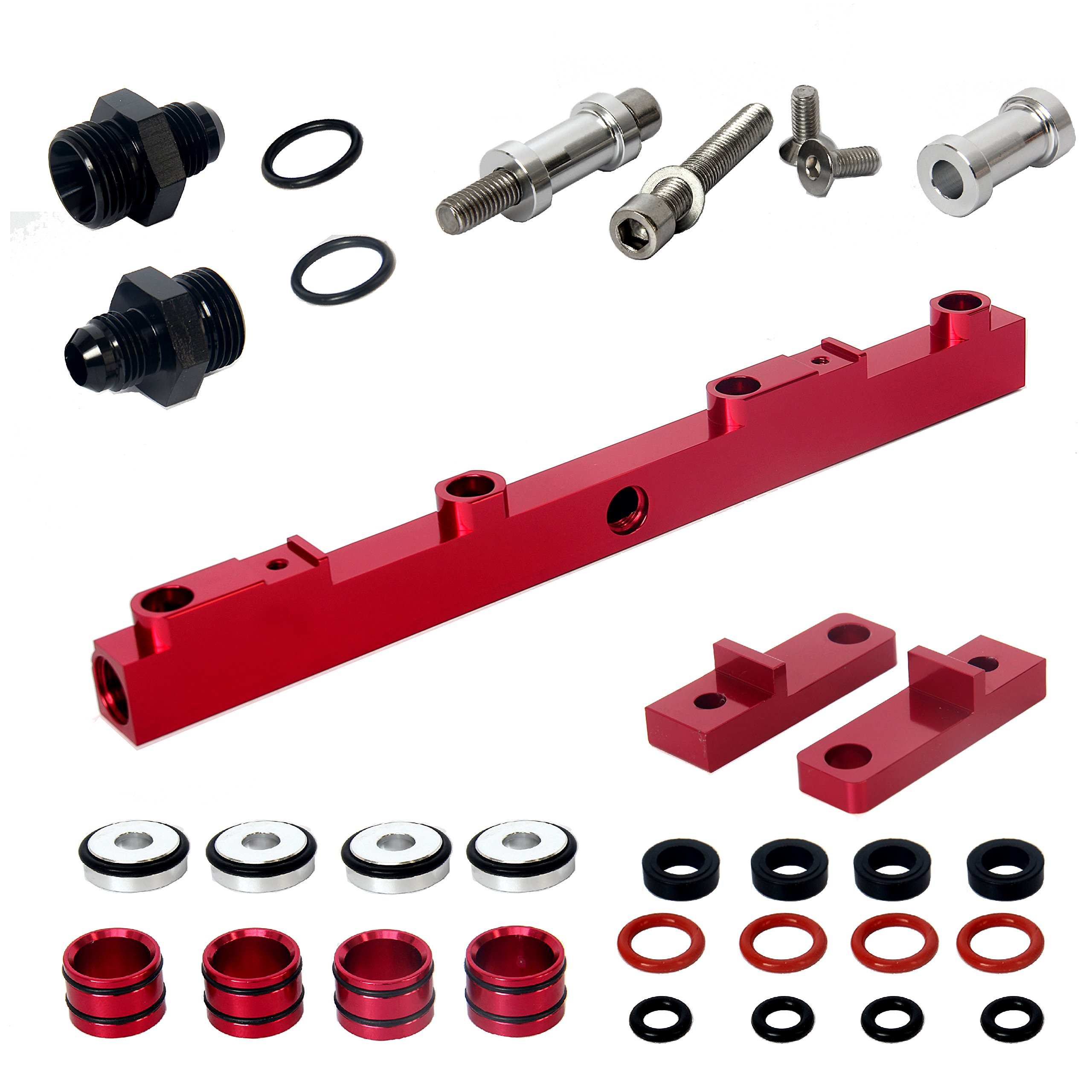 Heavy Duty Mounts Billet Aluminum Top Feed High Flow EFI Fuel Injector Rails Kit Suit for NISSAN SR20, Red Anodized by AC PERFORMANCE