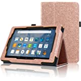 ACdream All-New Fire HD 8 Tablet (7th Generation, 2017 Release Only) Case, Premium PU Folio Leather Tablet Case for Fire HD 8 tablet with Auto Wake Sleep Feature, (Star of Paris, Rose Gold)