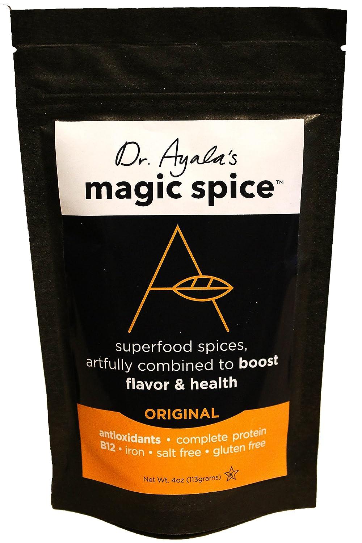 Dr. Ayala's Magic Spice, (Original) Superfood Seasoning, Flavor Booster, Turmeric, Nutritional Yeast, B12, Antioxidants, Salt-Free, Vegan Seasoning, Non GMO, No MSG, Gluten-Free, Kosher (4 Ounce)