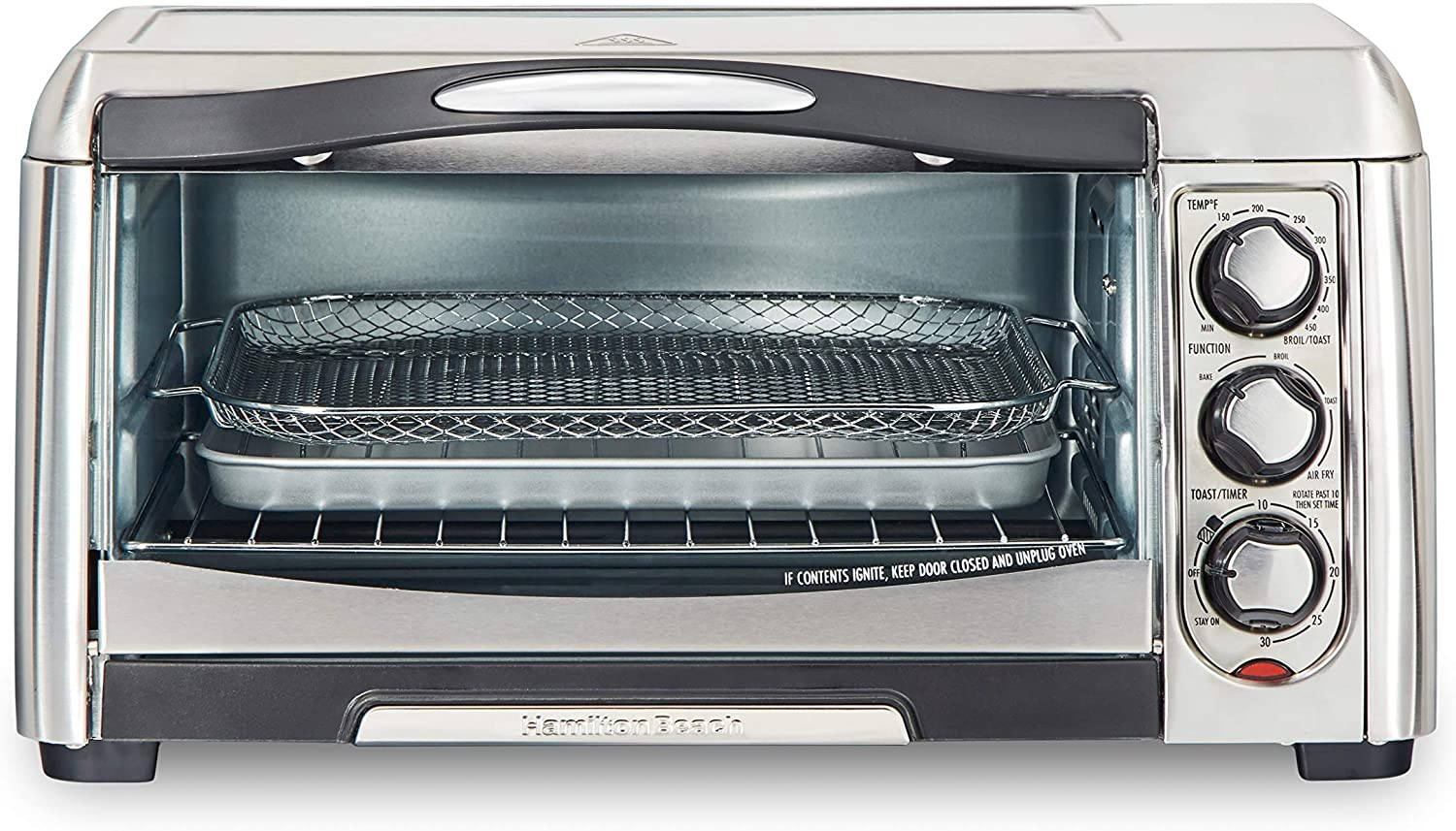 Hamilton Beach 31323 Sure-Crisp Air Fry Toaster Oven, 6 Slice Capacity, Stainless Steel