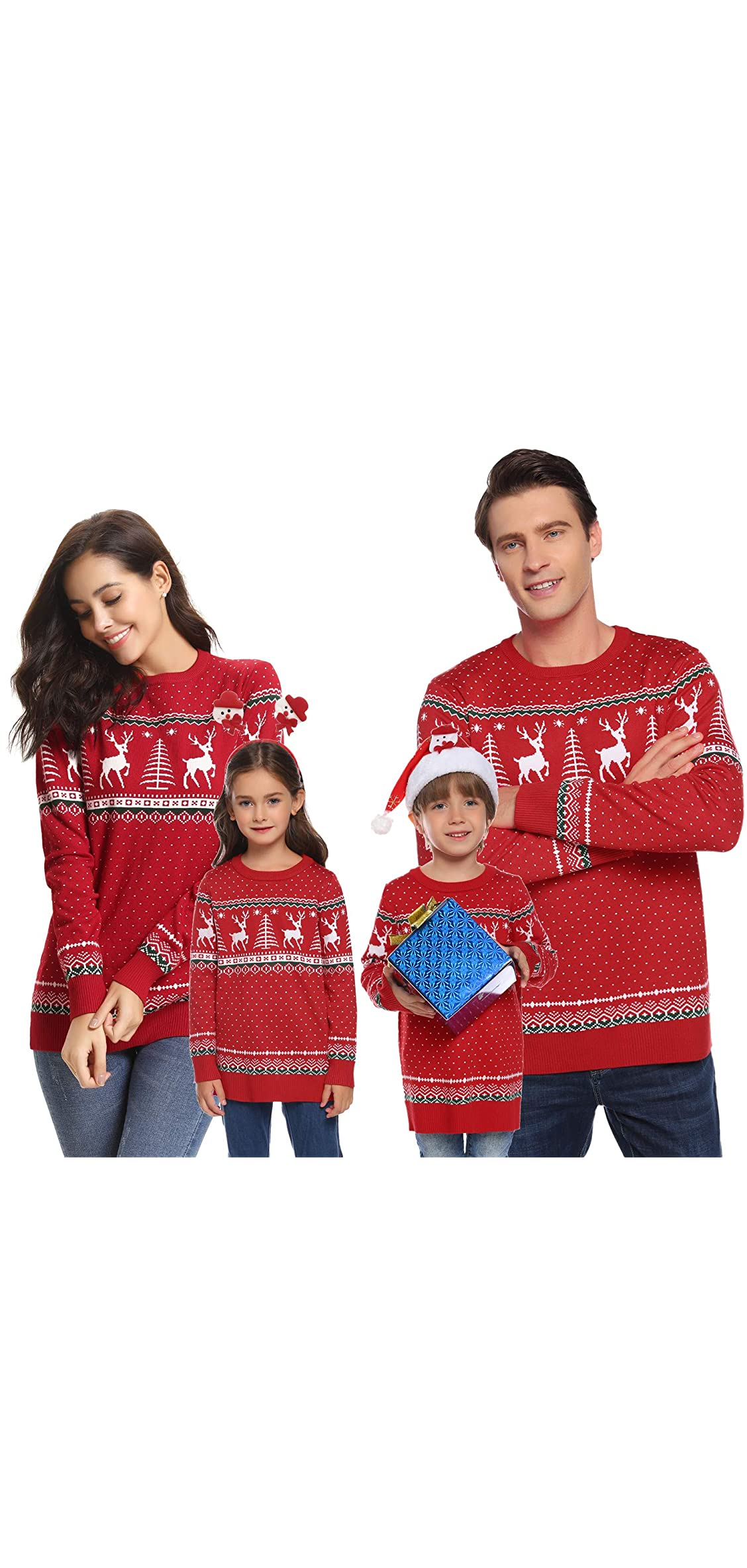 Family Matching Ugly Christmas Reindeer Snowflakes