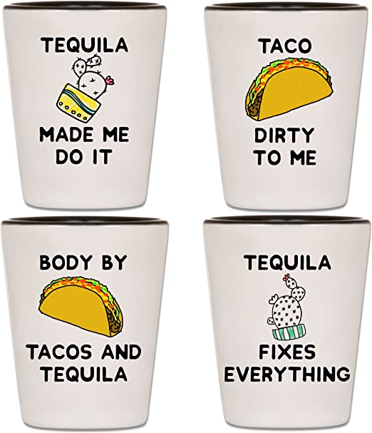 Tequila Shot Glasses Set Of 4 Taco Tuesday Cinco De Mayo Party Shooters With Funny Quotes Sayings Unique Novelty Mexico Drinking Shotglasses