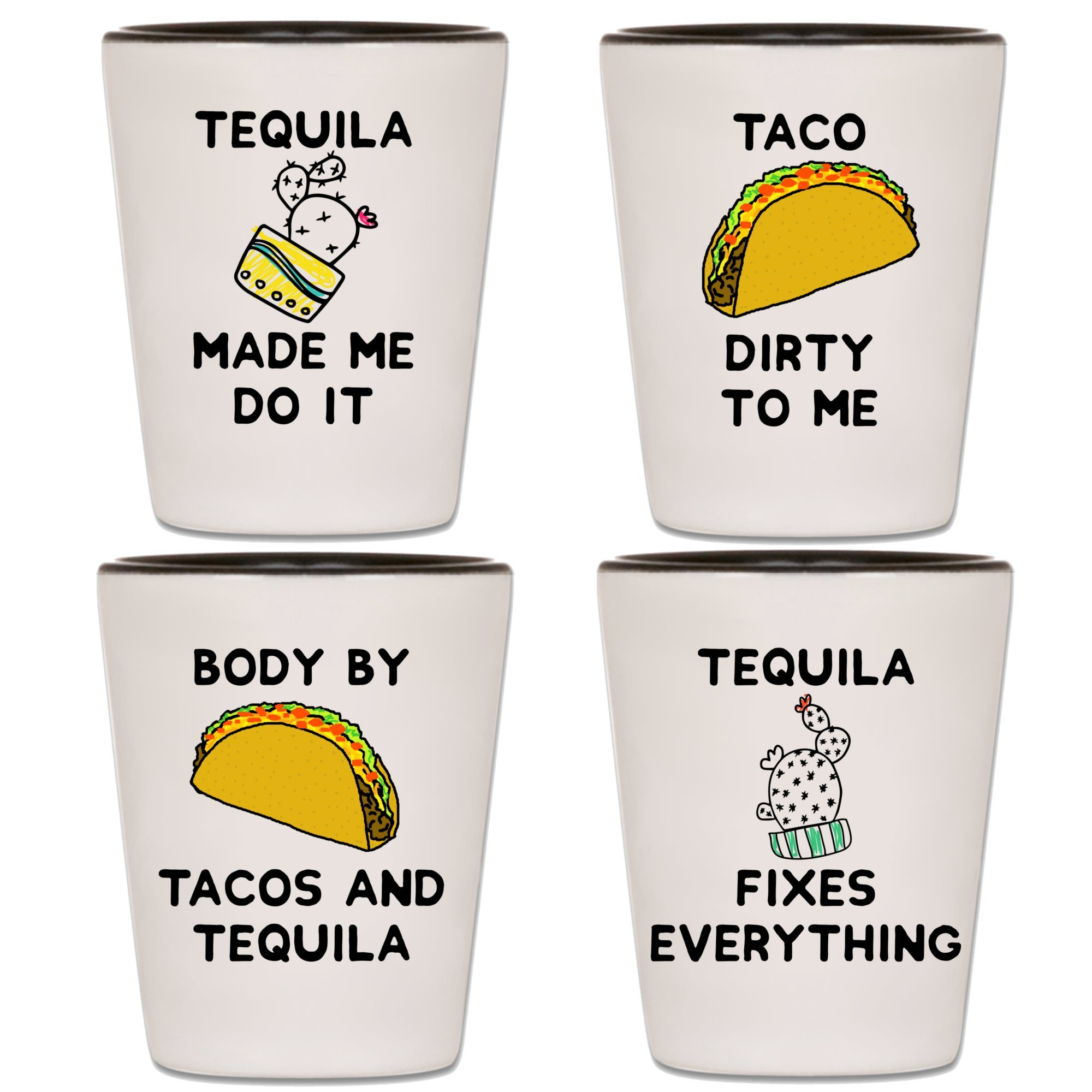 Tequila Shot Glasses - Set Of 4 Taco Tuesday & Cinco de Mayo Party Shooters With Funny Quotes & Sayings - Unique Novelty Mexico Drinking Shotglasses - Fun Gift For Men, Women, Adults & 21st Birthday