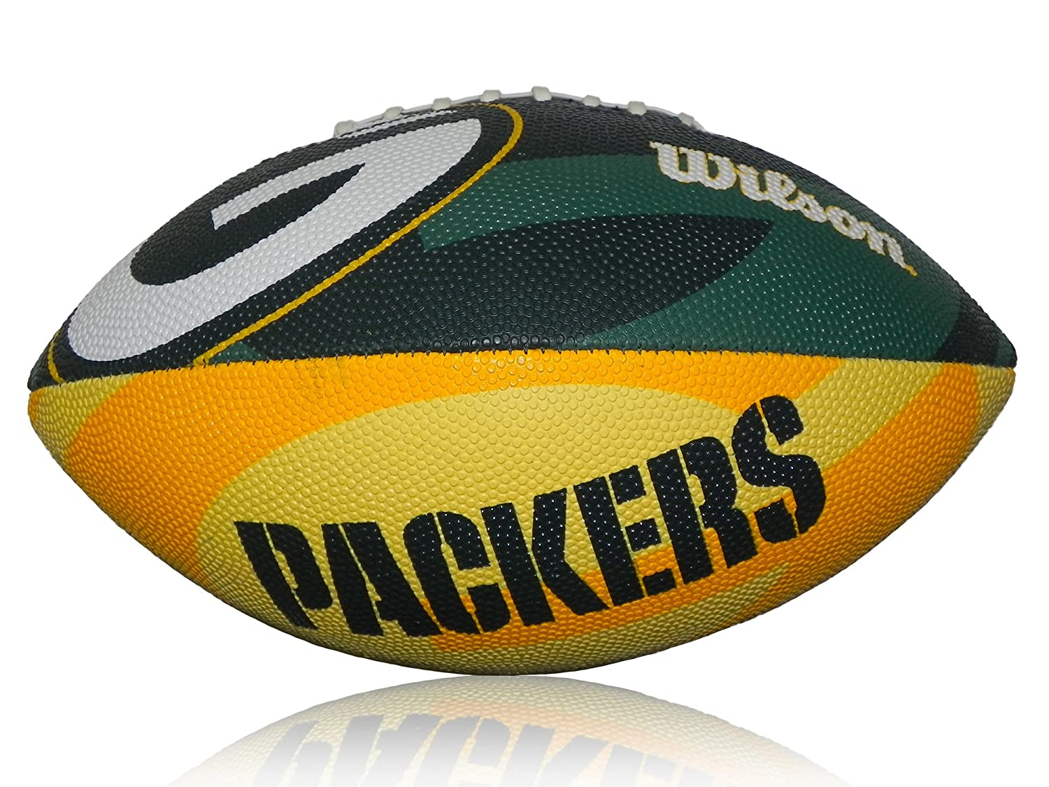 Wilson Football NFL Junior Greenbay Logo Junior - Balón de fútbol americano (infantil, caucho), color verde/amarillo, talla Junior WL0206173640