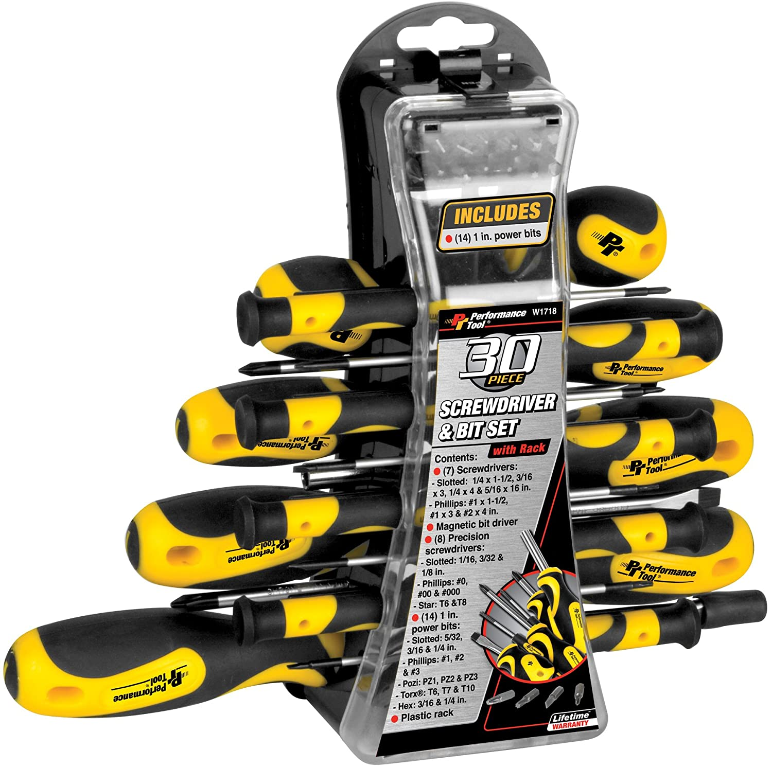 61-Piece Yellow//Black Performance Tool W1731 Screwdriver and Bit Set with Rack