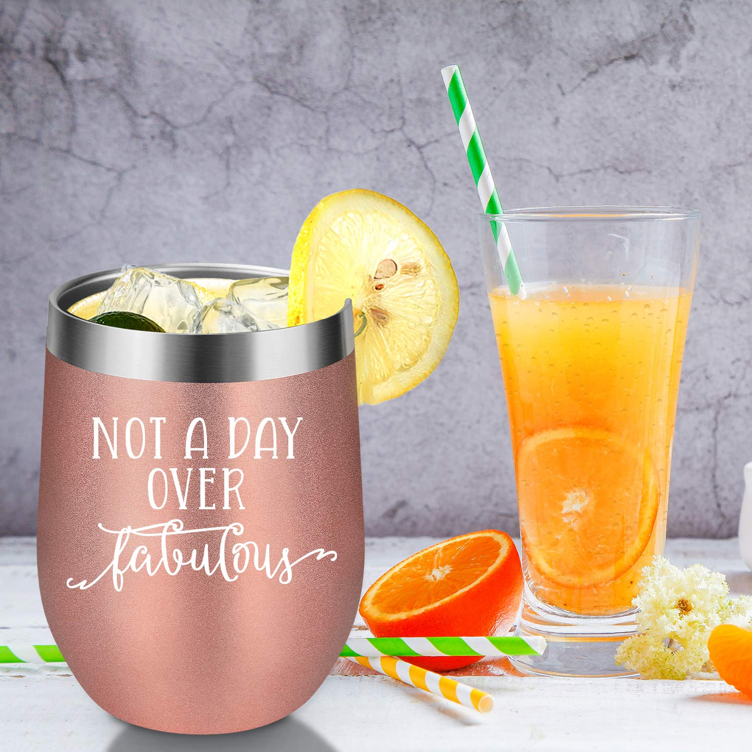 Not a Day Over Fabulous   Funny Birthday Wine Gifts Ideas for Women, BFF, Best Friends, Coworkers, Her, Wife, Mom, Daughter, Sister, Aunt   Coolife 12oz Stemless Insulated Wine Tumbler with Lid by Coolife (Image #4)