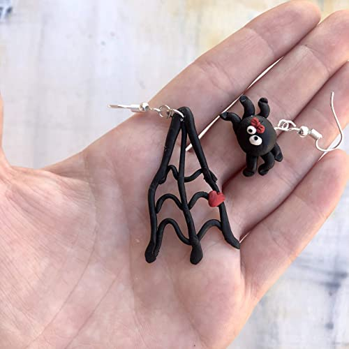 Handmade from Polymer Clay Black Silver Party Dangle Earrings